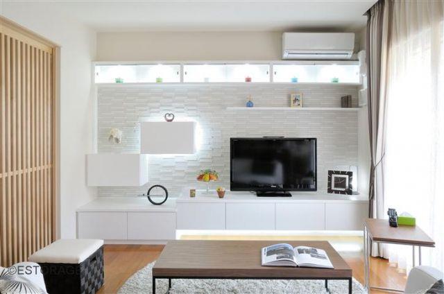 テレビ背面壁にエコカラットグラナスルドラを使った施工例5選
